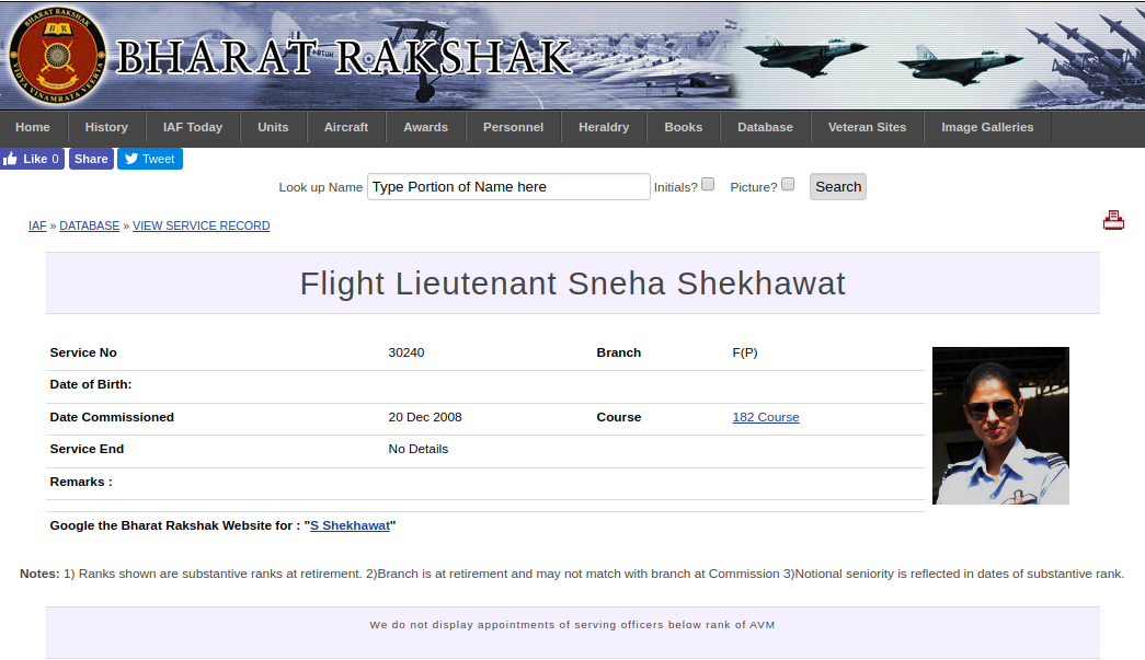 Screenshot of webpage Bharat Rakshak