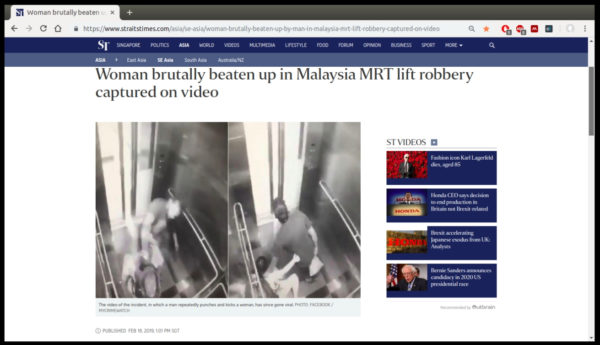 Screenshot of Straits Times article showing women being beaten up in KL Metro elevator