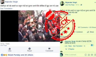 No, This Video Does Not Show BJP Workers Getting Injured Burning An Effigy Of Rahul Gandhi