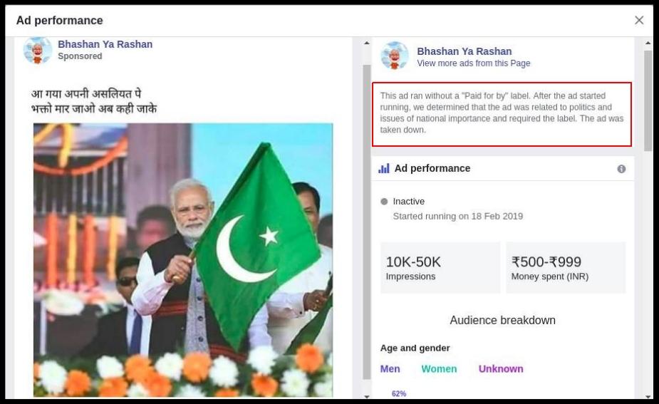 Ad performance of a sponsored ad on Facebook page Bhashan ya Rashan