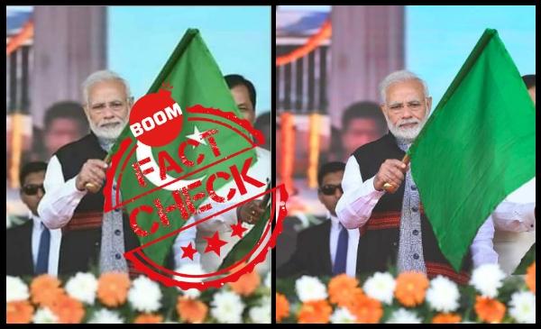 Featured image of Modi holding islamic flag