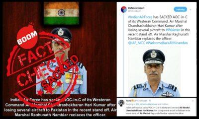Pakistani Handles Share Fake News Claiming Air Marshal C Hari Kumar Sacked