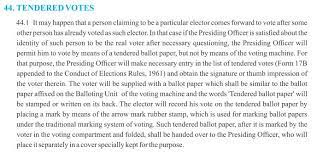 EC Handbook on Tendered votes
