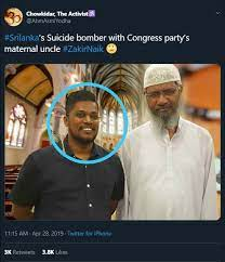 Tweet claiming Naik with SL Bomber