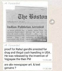 WhatsApp message on the newspaper clipping