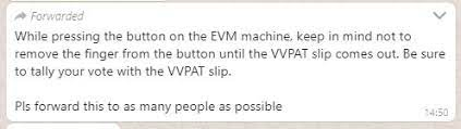 Fake WhatsApp message on VVPAT