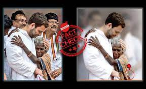 Photograph shows and old woman hugging Rahul Gandhi
