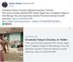 Screenshot of Kalyan Chaubey's Tweet that was shared in a Facebook Page