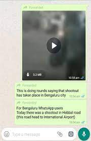 WhatsApp screenshot of video being shared as Bangalore