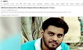 NDTV article on CBI closing Najeeb case