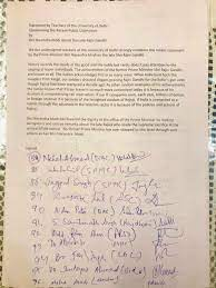 Image shows signed letter by DU professors to protest against Modi's remarks on Rajiv Gandhi