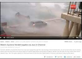 TOI article about Cyclone Vardah showing the same video