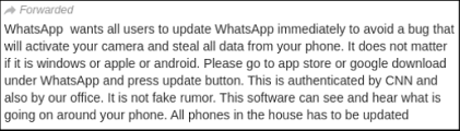 Image shows Screenshot of the forwarded message BOOM received on its WhatsApp helpline.