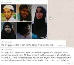 The messages mention an alleged spotting of the terrorists involved in the serial Sri Lanka blasts on Easter Sunday, in Bengaluru.