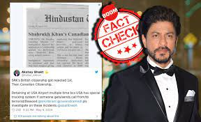 Image shows srk and fake news clipping