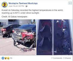 Melting cars facebook post