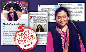Image shows Madhu Kishwar's Twitter bio