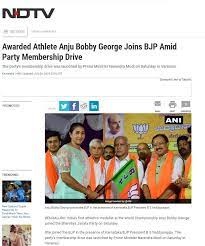 Anju joins BJP NDTV article