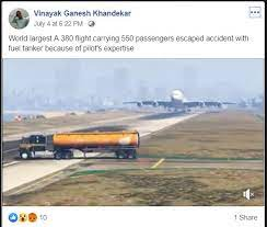 Facebook post on plane averting oil tanker