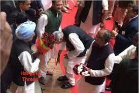 Rahul Gandhi feet being touched