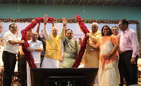 Image shows Amit Shah with other BJP members
