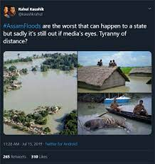 tweet on assam floods