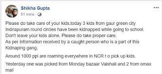 Child kidnappping fb post