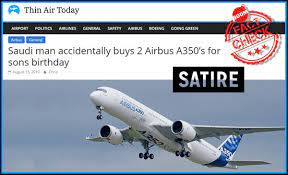 Satire Website Thinair and their story on Airbus