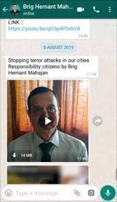 Image shows Screenshot of WhatsApp message containing the video, sent by Brigadier Mahajan (retd.).