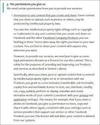 Image shows Facebook Terms and Conditions
