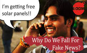 image shows someone falling for fake news on free solar panel distribution by the government