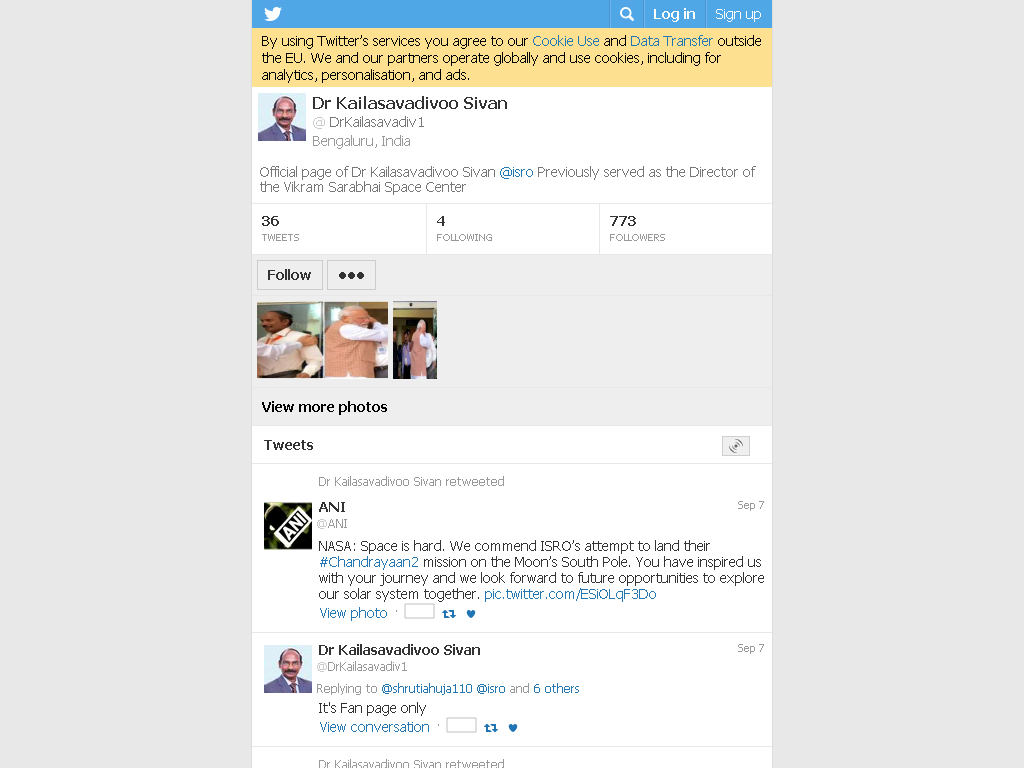 Image shows fake Twitter account of Dr K Sivan
