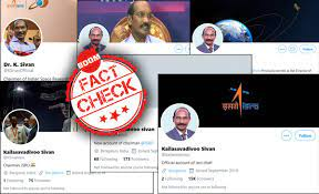 Image shows screenshots of fake twitter accounts of K Sivan