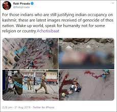 Image shared by Pirzadi, claiming to show Kashmiri genocide.