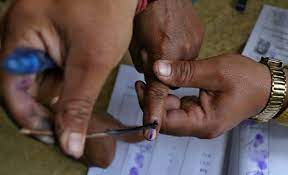 Voter finger during an election